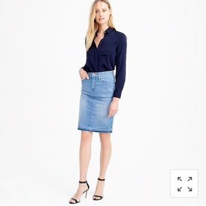 J. Crew frayed denim pencil skirt sz. 27